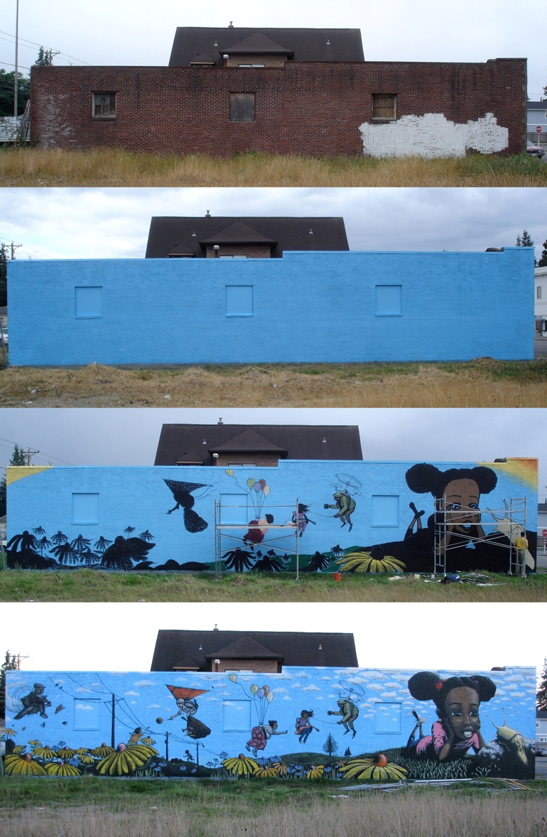 Hilltop mural progression. Photos by Jeremy Gregory.
