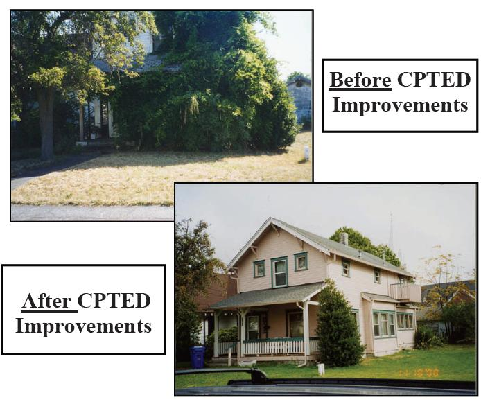 Before and after picture of CPTED principles